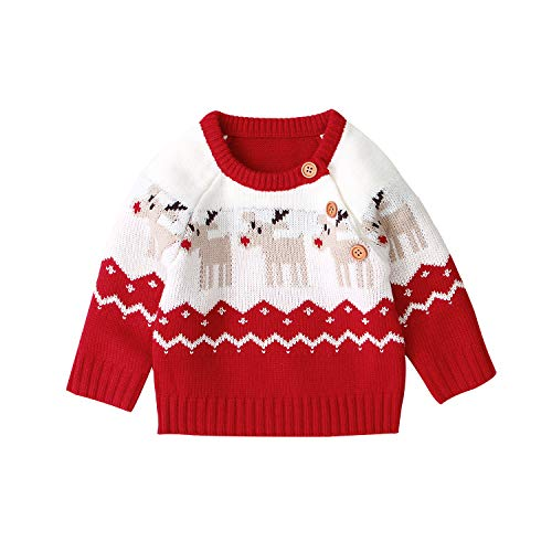 WangsCanis Neugeborene Baby Weihnachtspullover Kleinkind Baby Jungen Mädchen Langarm Warm Strickpullover Weihnachten Rentier Top Kleidung (Rot, 0-3 Monate)
