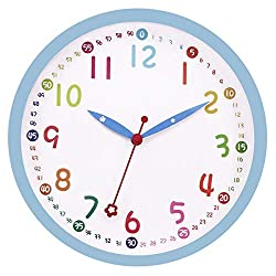 Lucor  Kids Wall Clock,  Silent Non Ticking - 12 Inch Decorative Colorful Battery Operated Round Easy to Read Clock for Classroom, School, Playroom, Nursery Room, Home (Blue)
