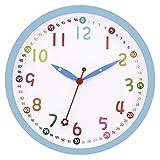 Foxtop Wanduhr Kinder - 30cm Quartz Lautlos Farbenfrohe Kinderwanduhr Schleichende Sekunde ohne Ticken - Bunte Lernuhr fr Kinder (12 Zoll, Blau)
