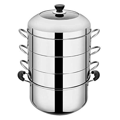 Hyl Vaporeras para Pasta 4 Niveles de Gran Capacidad de Vapor del alimento, de Acero Inoxidable multifunción Vapor del alimento Sopa de Olla, Viajes portátil Compacto vaporera (Size : 30cm)