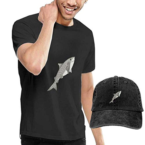 Baostic Camisetas y Tops Hombre Polos y Camisas, Happy Sharks Tiger Fashion Men's T-Shirt and Hats Youth & Adult T-Shirts