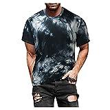 YANFANG Blusa Superior De Camiseta Manga Corta Estampada Informal Ajustada Verano para Hombre,Print tee Hombre, Hombre PoliéSter,2-Negro,XXL