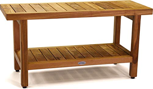 AquaTeak The Original 36' Spa Teak Shower Bench with Shelf