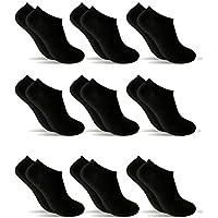 9 Pares Calcetines cortos Mujer hombre, calcetines tobillero (Negro, (40-44)