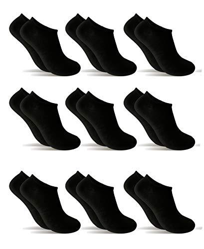 9 Pares Calcetines cortos Mujer hombre, calcetines tobillero (Negro, 35-40)