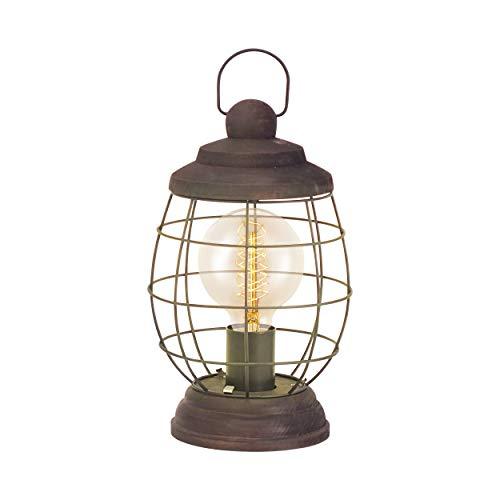 EGLO Tischlampe Bampton, 1 flammige Tischleuchte Industrial, Vintage, Retro, Nachttischlampe Holz und Stahl in Braun-Patina, Laterne mit Schalter, E27 Fassung