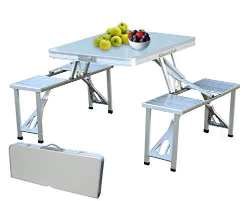 Mesa plegable portátil de aluminio para picnic con dos bancos, Gris