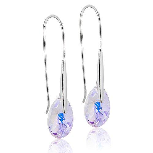 DTP Silver - Pendientes con colgantes en forma de Lágrima/Gota - Plata de Ley 925 con Cristales Swarovski - Color: Aurora Boreal