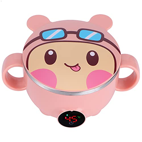 Alvinlite Cuenco Calefactor Inteligente Carga USB Preservación del Calor - Cuencos para bebés con Tapas para niños Suministros de vajilla para bebés(Rosado)