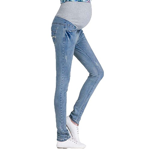 Gagacity Damen Umstandshose Leggings Jeans Schwangerschafts Hose Freizeithose Hellblau/XL
