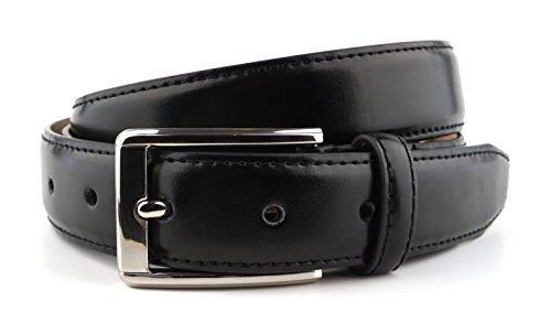 Massi Morino Premium Herren Anzug Gürtel (inkl. Geschenkbeutel) Businessgürtel für Männer (115cm Bundweite, Schwarz)
