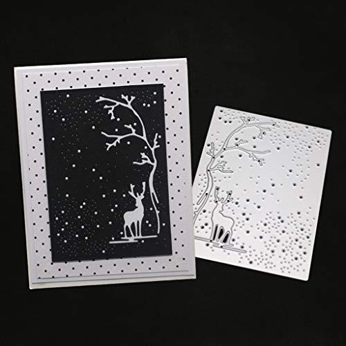 hgfcdd Baum Hirsch Metall Stanzformen Schablone DIY Scrapbooking Album Stempel Papier Karte Präge Decor Craft