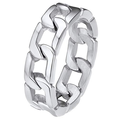 PROSTEEL Herren Ring Edelstahl Größe 54 Panzerkette Design Bandring 6mm breit Cuban Link Band Ring Biker Ring für Männer Jungen Modeschmuck Accessoire für Geburtstag Jahrestag