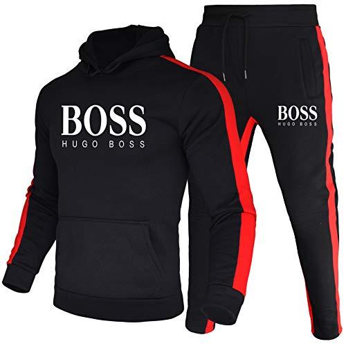zhtao Una nuova tuta sportiva da uomo e da donna più venduta, tuta sportiva a due pezzi con cappuccio a righe Boss (nero, L)