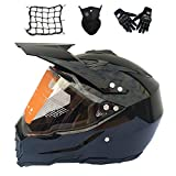 MRDEAR Casco Motocross Negro con Visera, Set de Casco Cross Adulto - 4 Pcs - Casco Enduro Integral MTB Descenso Off-Road Scooter Racing Motocicleta Quad Downhill para Hombre Mujer,M