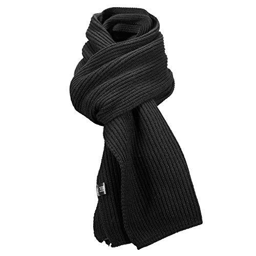 AIMTOP Schal Herren Strickschal Damen Warm Herbst Winter Schal, Herrenschal Basic Einfarbig Schwarz Schal, Klassisch Modern Elegant Warmer Langer Winterschal