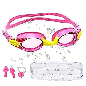 Gafas de Buceo Para Niños, Gafas Piscina Niños, Disponible Para Niños Y Niñas de 3 a 12 años. Antivaho y anti-ultravioleta, Con 2x Tapones Para Los Oídos, 1x Pinzas Para La Nariz