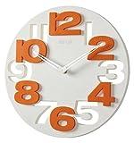 GMMH 3 D Design Moderne Wanduhr 8808 Küchenuhr Baduhr Bürouhr Dekoration ruhig (weiß orange)