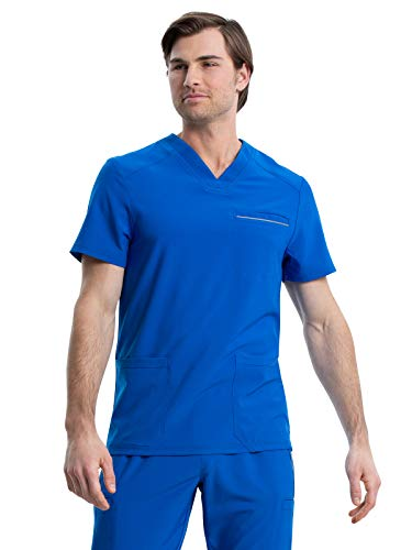CHEROKEE iFlex Men Scrubs Top V-Neck Plus Size CK661, 2XL, Royal
