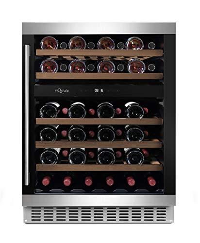 mQuvee Weinkühlschrank Unterbau/Einbau WineCave 60D Edelstahl/Schwarz, Platz für bis zu 45 Flaschen, 2 Temperaturzonen 5-20°C, Breite 60 cm
