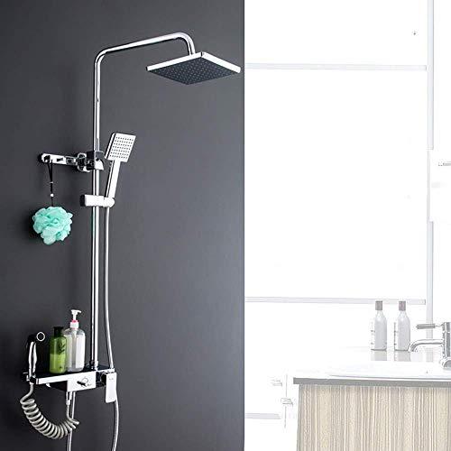 XUSHEN-HU Juego de ducha Set de ducha, Ducha de baño de cobre fino, Válvula de mezcla oculta, Cabezal de ducha, Ducha presurizada Delicada