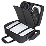 USA GEAR PS5 Case - Console Case Compatible with Playstation 5 and PS5 Digital Edition with Customizable Interior for Playstation Controller, PS5 Games, Gaming Headset, and Gaming Accessories (Black)