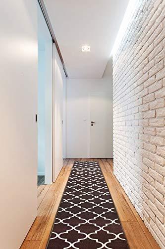 Passatoia Corridoio TRELLIS antiscivolo, per cucina, corridoio, soggiorno, robusto, moderno, marrone 133x190 cm