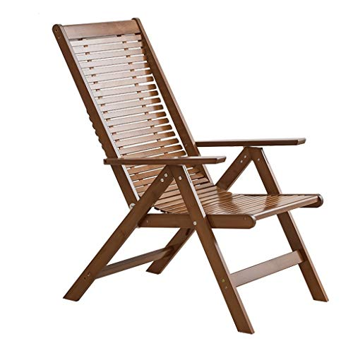 WPL Silla Plegable Silla Plegable, reclinable de bambú fácil de Ajustar Respaldo con apoyabrazos y reposapiés telescópico for Acampar, al Aire Libre, jardín, etc. Silla de Camping (Color : A)