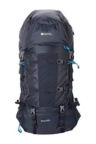 Mountain Warehouse Inca Extreme 65-l-Rucksack - robuster Ripstop-Rucksack, Brust-/Hüftriemen, Regenschutz - 77,5 cm x 34 cm x 25 cm - Für Festivals, Camping, Frühling Marineblau Einheitsgröße