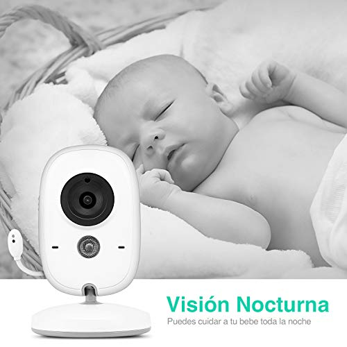 """Vigilabebés Cámara, BOIFUN Camara vigilancia Bebe Inteligente con Pantalla LCD de 3.2"""", VOX, Visión Nocturna, Monitoreo de Temperatura, Despertador, Comunicación Bidireccional, Recargable"""