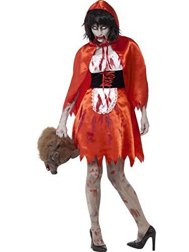 costumebakery - Damen Frauen Kostüm Zombie Blutiges Rotkäppchen Märchenfigur Kleid und Umhang, Horror Little Red Riding Hood, perfekt für Halloween Karneval und Fasching, L, Rot