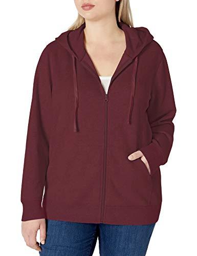 Amazon Essentials Women's Plus Size French Terry Fleece Full-Zip Hoodie, Burgundy, 3X