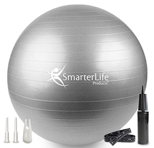 SmarterLife Exercise Ball for Yoga, Balance, Stability - Fitness, Pilates, Birthing, Therapy, Office Ball Chair, Classroom Flexible Seating - Anti Burst, Non Slip, PRO Workout Guide (Silver, 65cm)