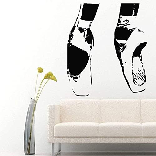 Etiqueta de la pared de PVC de alta calidad desmontable cara de bailarina chica atlética zapatos de ballet puntiagudos etiqueta de la habitación de niña de baile 49x42 cm