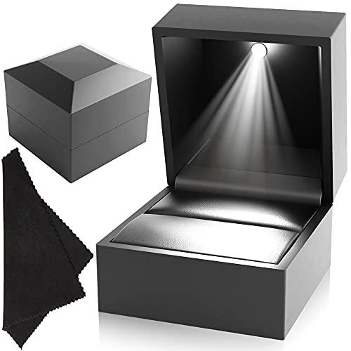 DANTE Engagement Ring Box – Luxury Ring Box with Light – Plush...