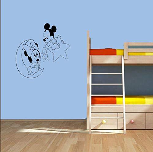 Mickey Mouse Sticker Mural Decal Mickey Et Minnie Mouse Lune Et Etoile Stickers Muraux pour Enfants Chambre Art Décoration pour La Maison Vinyle