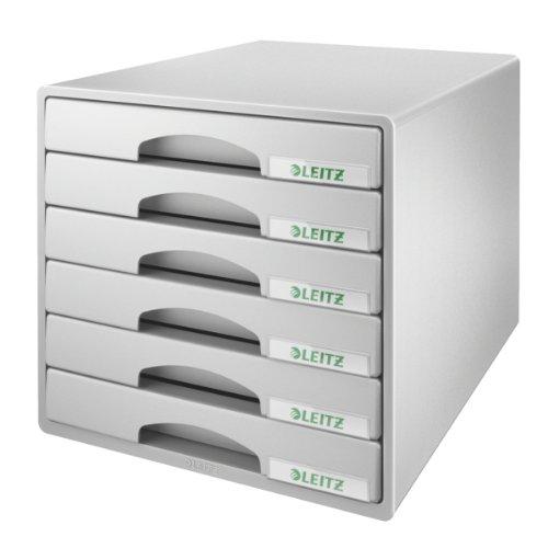 Leitz Plus 52120085 - Buc de cajones, A4, 6 cajones, Gris, Plástico
