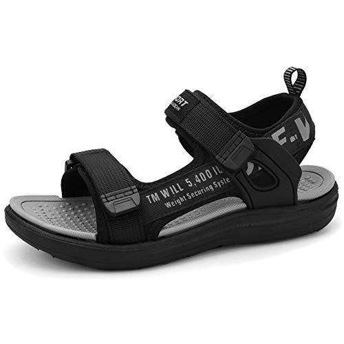 Youecci Sandalias de Vestir para Niño Sandalias Deportivas Verano Aire Libre Deporte Zapatillas de Senderismo Sandalias con Punta Abierta Negro Gris 41 EU