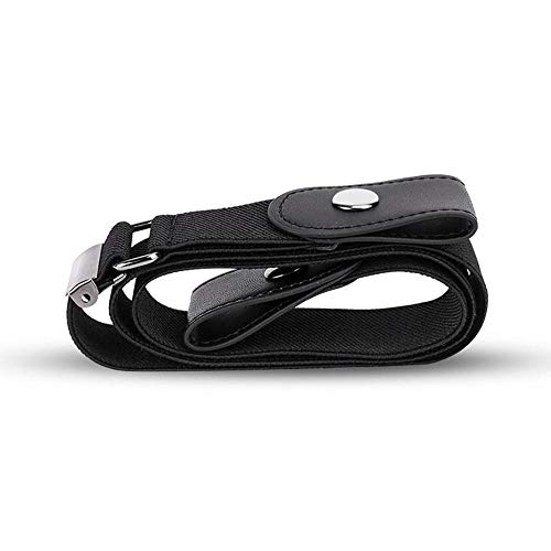 KOBWA Elastic Belt Without Buckle for Men for Women, No Buckle Invisible Belt for Jeans Pants Dresses (Black)