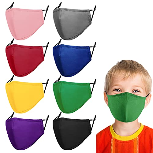 Kids Reusable Face Mask Children Face Masks Cloth Cotton Adjustable Mask 3 Layer Breathable Safety Face Mask for Cute Kid Boys Girls 8 Pcs
