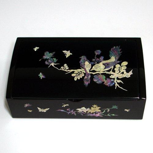 Nacre Motif oiseau et fleur bijoux miroir en bois noir laqué de présentation à Bijoux Coffre Trésor Coffret de rangement