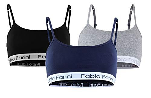 Fabio Farini Sport-BH Sports-Bra mit breitem Unterbrustband und Spaghetti-Trägern, in 3 Farben (M, 3 Stück)