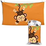 XCNGG Toallas de baño de secado rápido Toallas de baño para el hogar Toallas Quick-Dry Bath Towel, Highly Absorbent Soft Beach Towel, Naughty Monkey for Bathroom, Camping, Backpacking, Gym, Travelling
