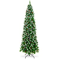 Best Choice Products 7.5ft Pre-Decorated Pine Hinged Artificial Slim Christmas Pencil Tree