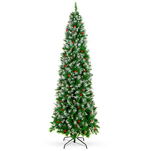 Best Choice Products 6ft Pre-Decorated Pine Hinged Artificial Slim Christmas Pencil Tree w/ 618 Flocked Frosted Tips, 30 Pine Cones, 34 Berries, Metal Base