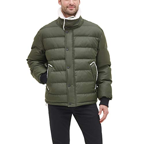 DKNY Herren Faux Leather Sherpa Collar Ultra Loft Puffer Jacket Daunenalternative, Mantel, olivgrün, X-Large