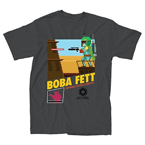 STAR WARS Pixel Boba Fett Video Game - Camiseta de Manga Corta para Hombre, Color Gris