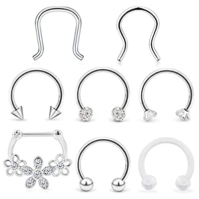 Hoeudjo Septum Clicker Rings 16G Surgical Steel Nose Hoop Rings Retainer Body Piercing Jewelry with Clear CZ Women Men U & D Shaped Daith Helix Tragus Lip Cartilage Earrings 8 Pieces 1#