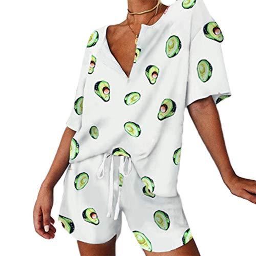 YO-HAPPY Mujeres 2Pcs Pijamas Manga Corta Cuello en V Tops Pantalones con cordón Aguacate Loungewear