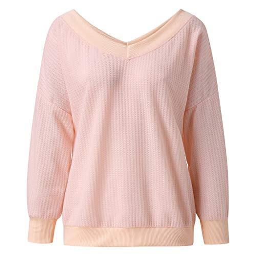 DOFENG Damen T Shirt Bluse Sweatshirt Damen Lange Ärmel Mode Locker Stricken Volltonfarbe Schulterfrei Lässig V Hals Kapuzenpullover Pullover Oberteil Tops (Rosa, X-Large)